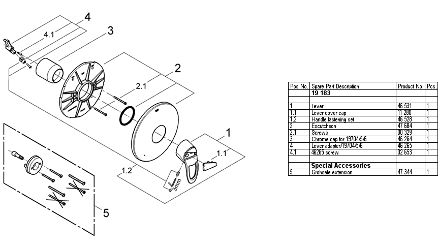 Grohe 19 183 Pressure Balance Shower Replacement Parts