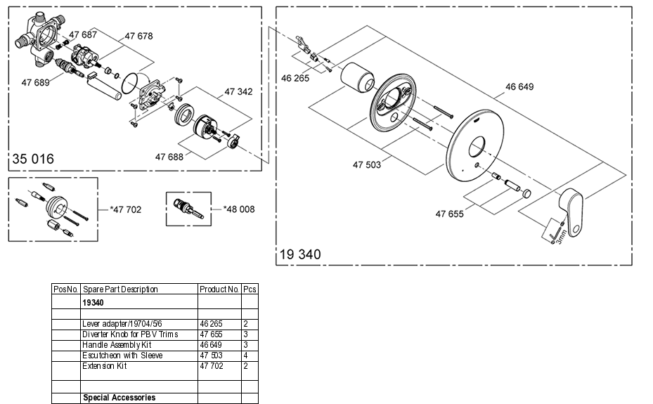 Grohe 19 340 Pressure Balance Valve Replacement Parts