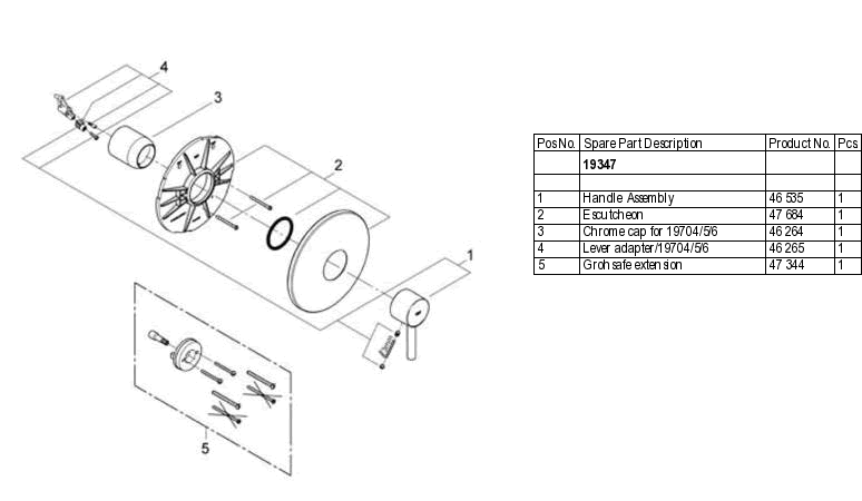 Grohe 19 347 Pressure Balance Valve Replacement Parts