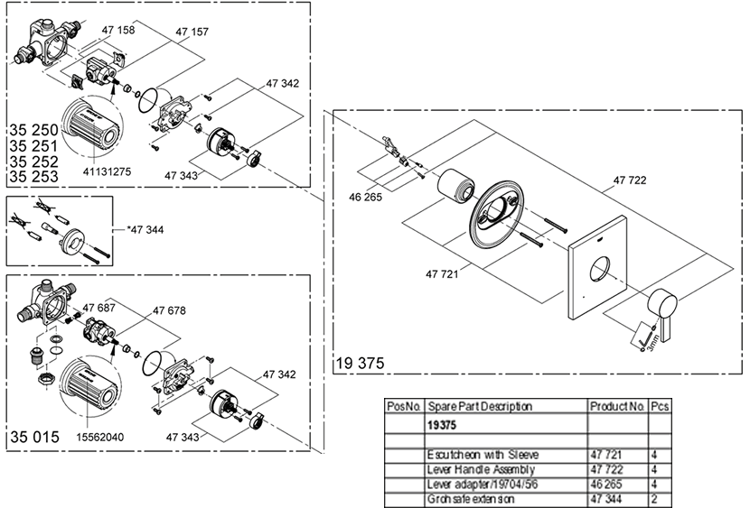Grohe 19 375 Pressure Balancing Valve Replacement Parts