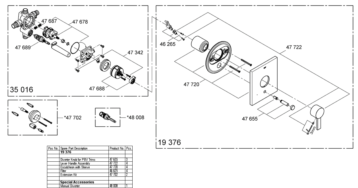 Grohe 19 376 Pressure Balancing Valve Replacement Parts