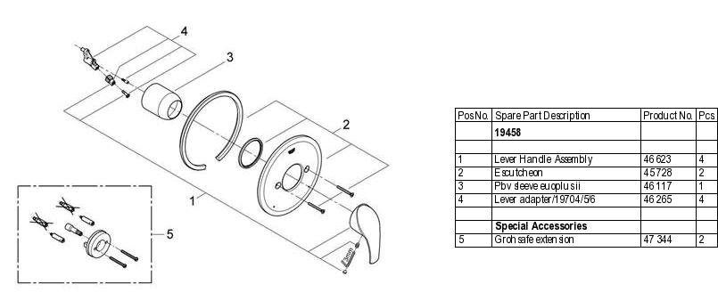 Grohe 19 458 Pressure Balance Valve Replacement Parts