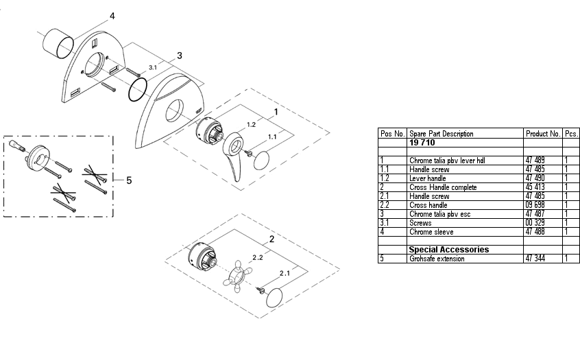 Grohe 19 710 Pressure Balancing Valve Replacement Parts