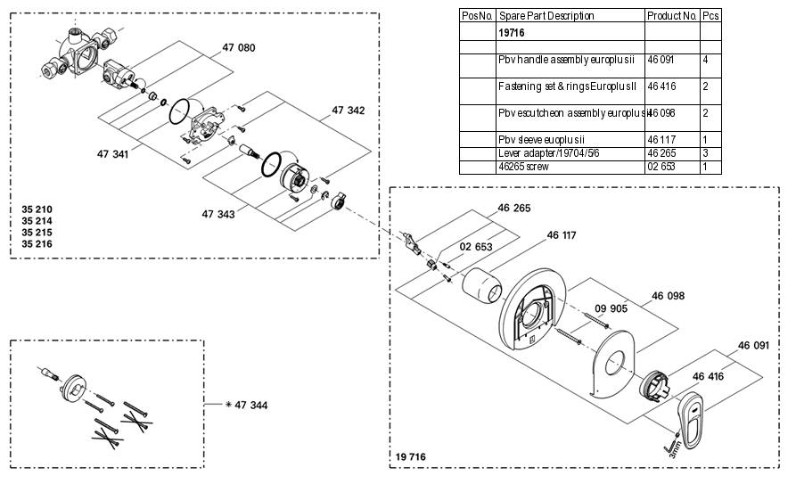Grohe 19 716 Pressure Balance Valve Replacement Parts