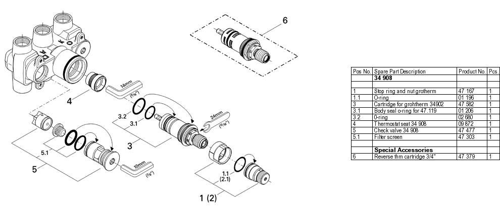 Grohe 34 908 3 4 Thermostatic Valve Parts